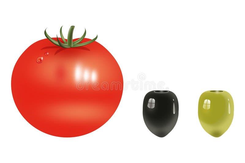 Tomate fresco vermelho sobre o vermelho e as duas azeitonas. ilustração royalty free