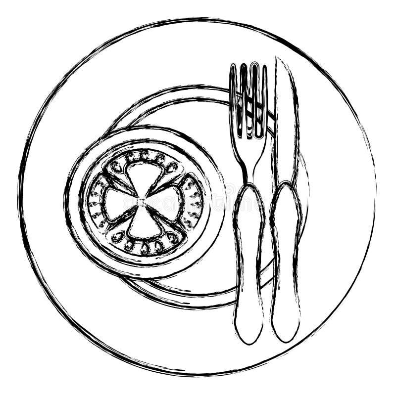 Tomate im Teller mit Gabel und Messer stock abbildung