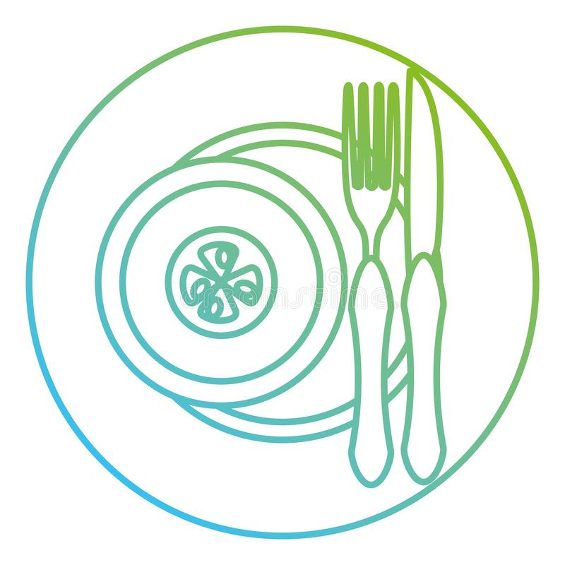 Tomate im Teller mit Gabel und Messer lizenzfreie abbildung
