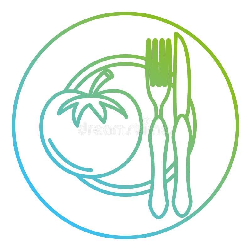 Tomate im Teller mit Gabel und Messer vektor abbildung