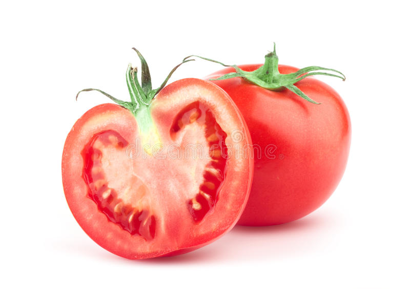 Tomate mit grünem Blatt stockfotos