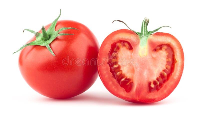 Tomate mit grünem Blatt lizenzfreie stockbilder