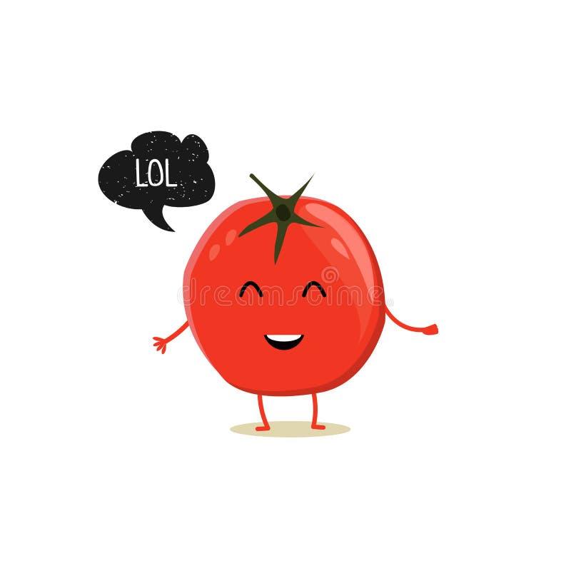 Tomate mit Spracheblase Schwarzer Schmutzausweis Ballonaufkleber LOL Auch im corel abgehobenen Betrag lizenzfreie abbildung
