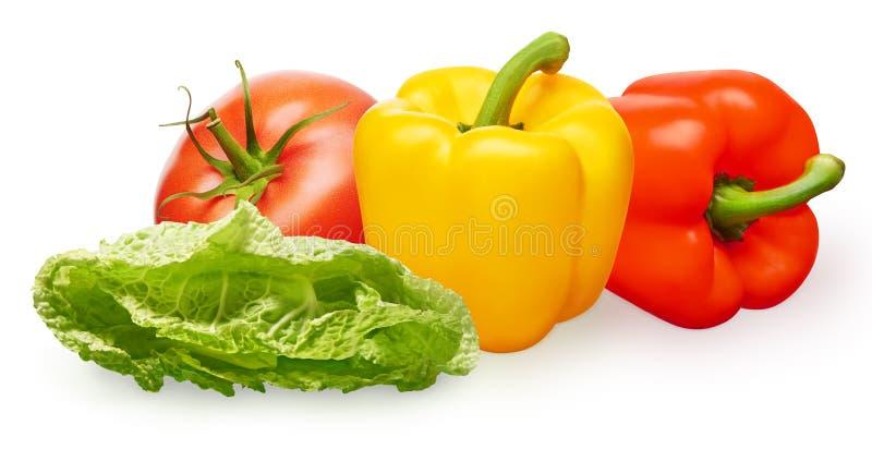 Tomate, paprikas amarillos y rojos y ensalada verde imagenes de archivo