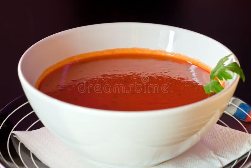 _ tomate poner crema sopa fotos de archivo libres de regalías