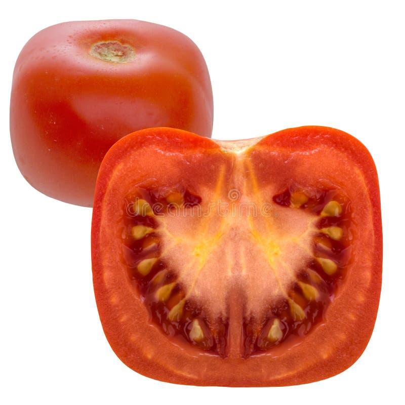 Tomate quadrado isolado no branco Alimento do GM foto de stock royalty free
