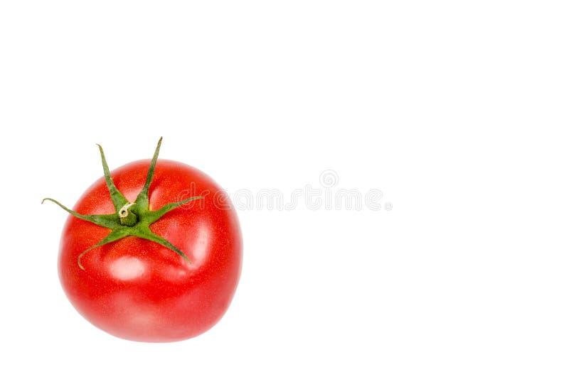 Tomate rojo crudo entero fresco con la hoja verde, aislada en el fondo blanco, plantilla del espacio de la copia imagenes de archivo