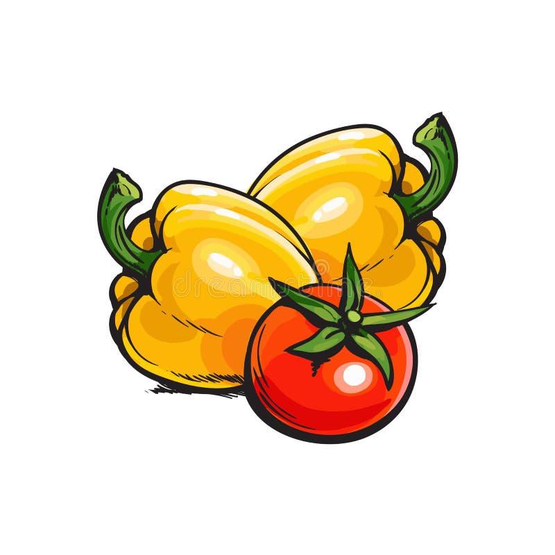 Tomate rojo maduro entero y dos paprikas amarillos ilustración del vector