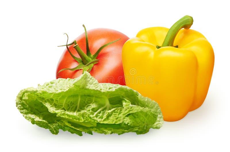 Tomate rojo, paprika amarillo y ensalada verde en blanco imágenes de archivo libres de regalías