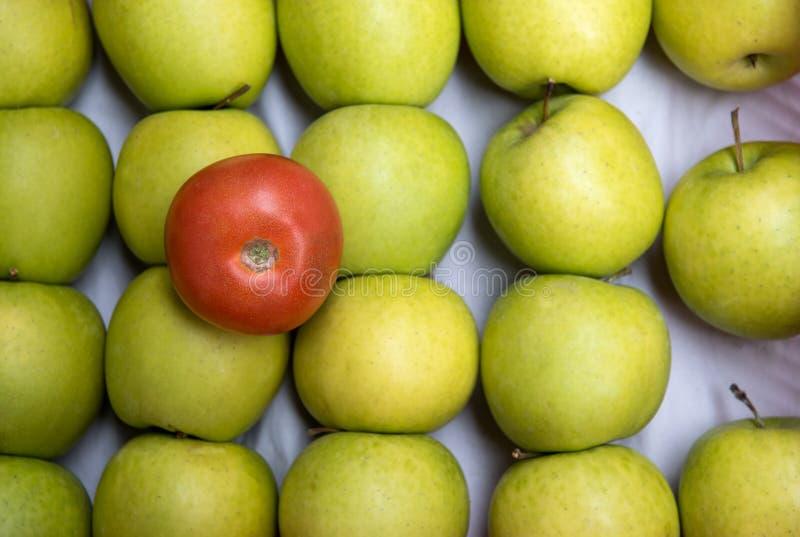 Tomate rouge sur les pommes vertes images libres de droits