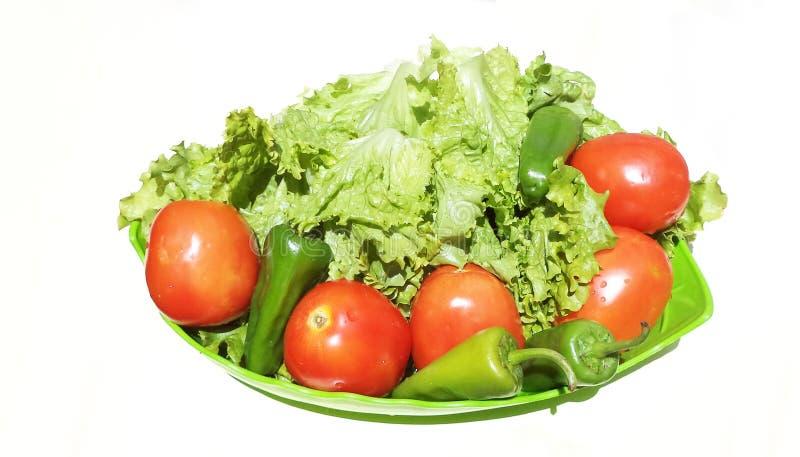 Tomate, salada e pimenta imagens de stock