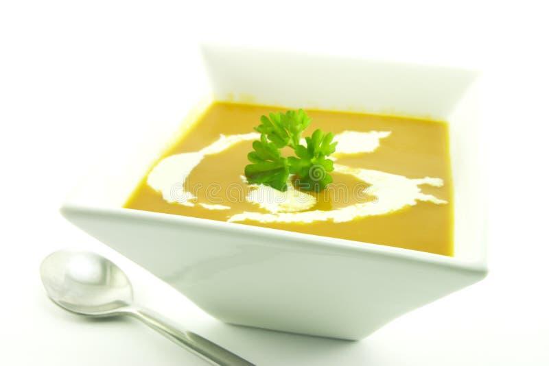 Tomate-Suppe in einer schwarzen Schüssel lizenzfreie stockbilder