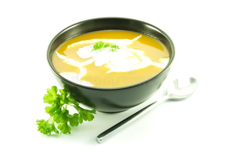 Tomate-Suppe in einer schwarzen Schüssel lizenzfreie stockfotografie