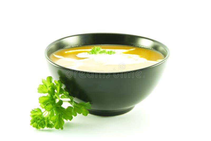 Tomate-Suppe in einer schwarzen Schüssel stockbild