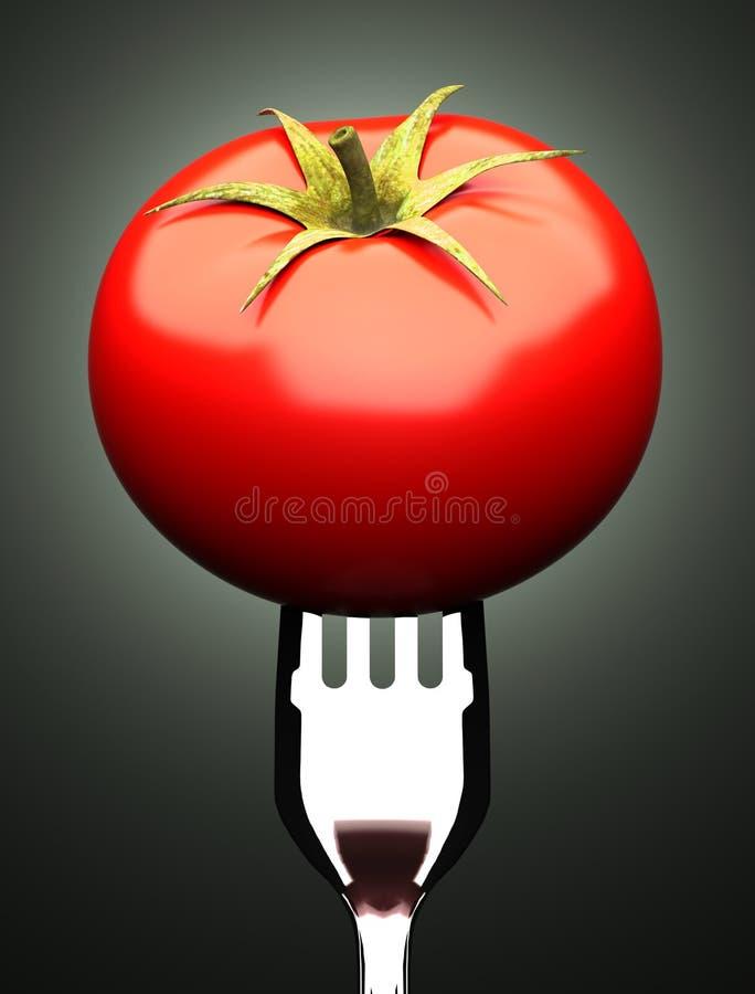 Tomate sur la fourchette illustration de vecteur