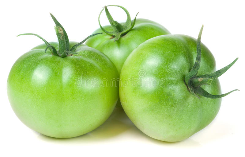 Download Tomate Trois Non Mûre Verte D'isolement Sur Le Fond Blanc Image stock - Image du ingrédient, vivacité: 77155493