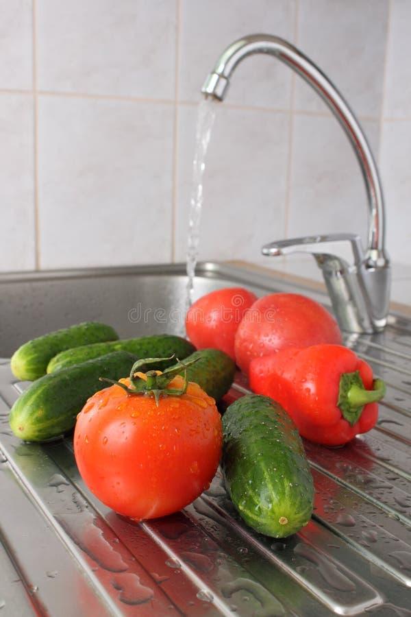 Tomate und Gurke lizenzfreies stockbild