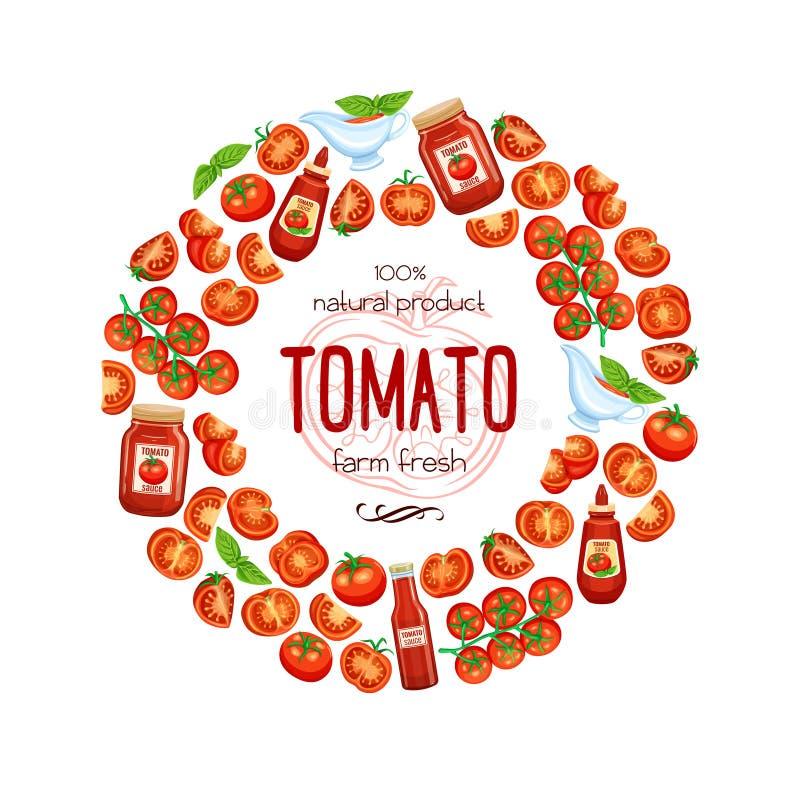 Tomate vermelho com molho ilustração do vetor