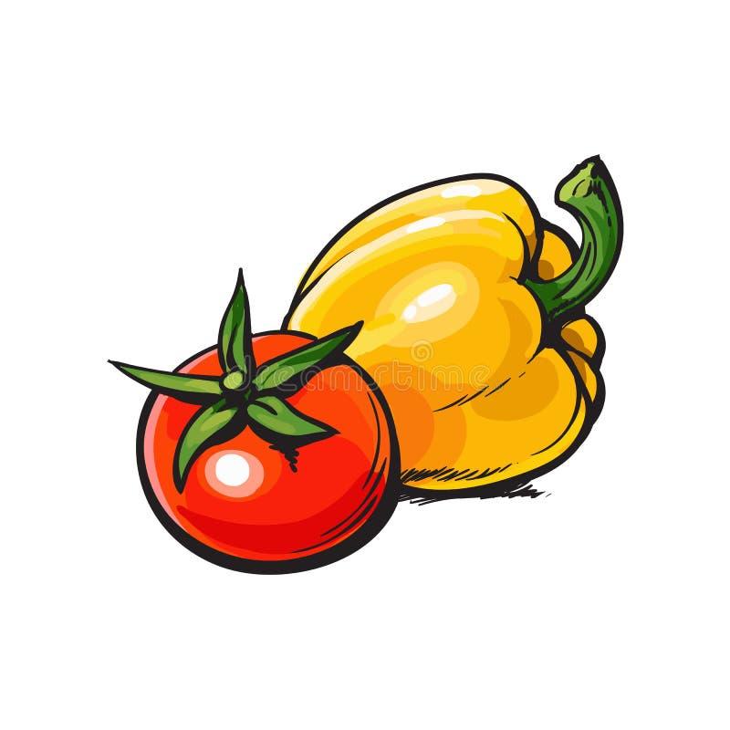 Tomate vermelho maduro inteiro fresco e pimenta de sino amarelo ilustração royalty free