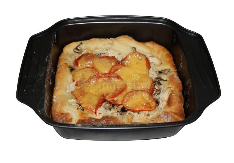 Tomate y empanada del queso con el pollo y los mashrooms imagenes de archivo