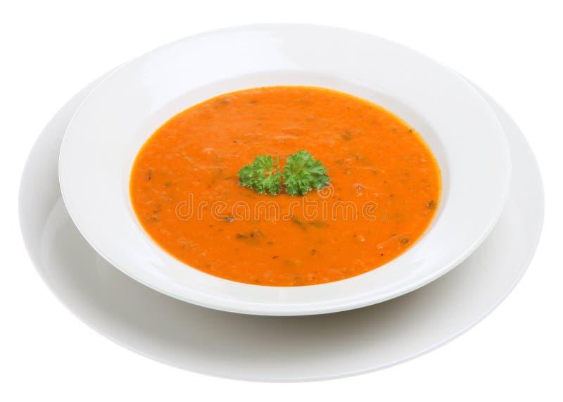 Tomate y sopa de la albahaca foto de archivo