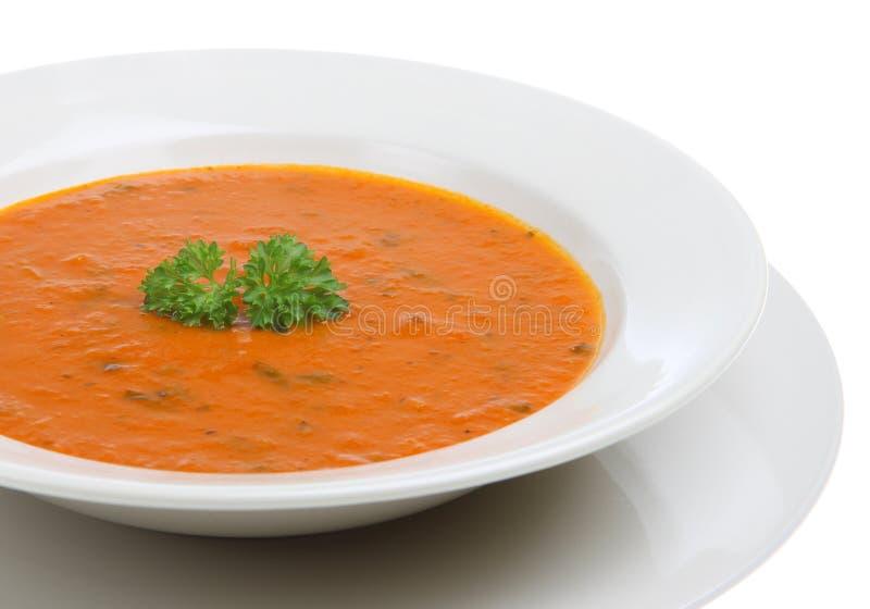 Tomate y sopa de la albahaca imagen de archivo libre de regalías
