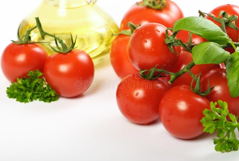 Tomaten & Olijfolie stock afbeeldingen