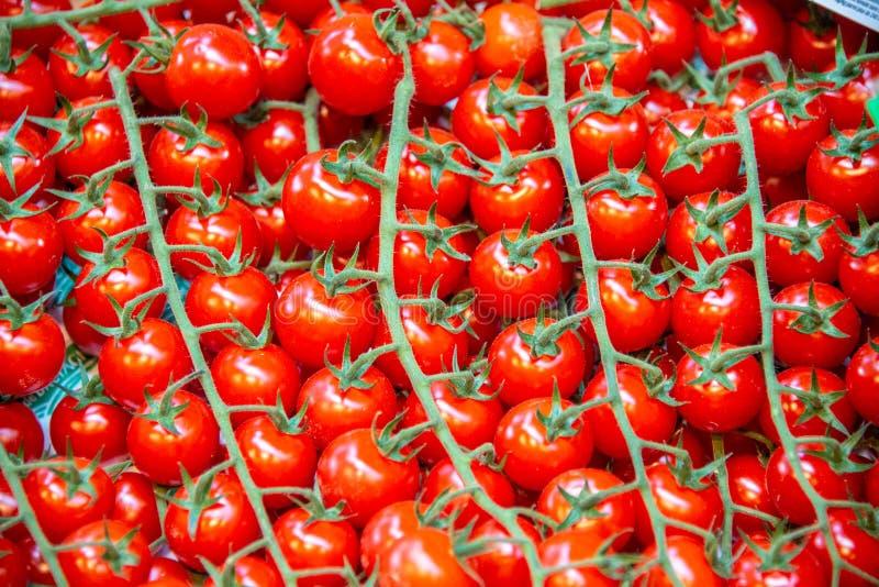Tomaten bij de box van de marktvertoning stock afbeeldingen