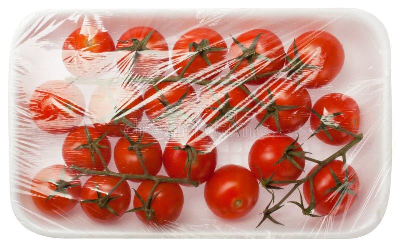 Tomaten dammsuger in emballage royaltyfria foton