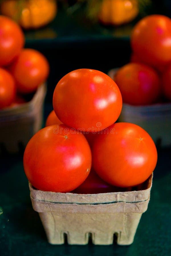 Tomaten in einem Korb stockbild