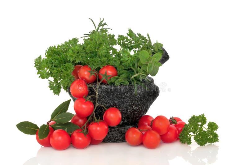 Tomaten en de Selectie van het Blad van het Kruid royalty-vrije stock foto