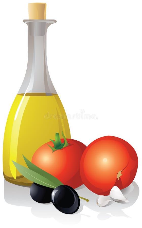 Tomaten en een fles met olijfolie op de witte achtergrond stock illustratie