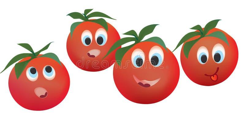 Tomaten-Gesichts-Ausdrücke stock abbildung