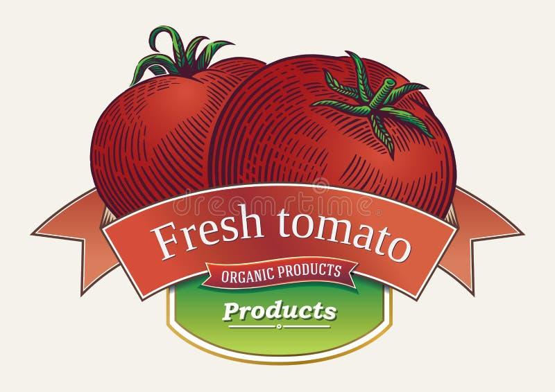 Tomaten in grafische stijl, en de lay-out van het etiketontwerp royalty-vrije illustratie