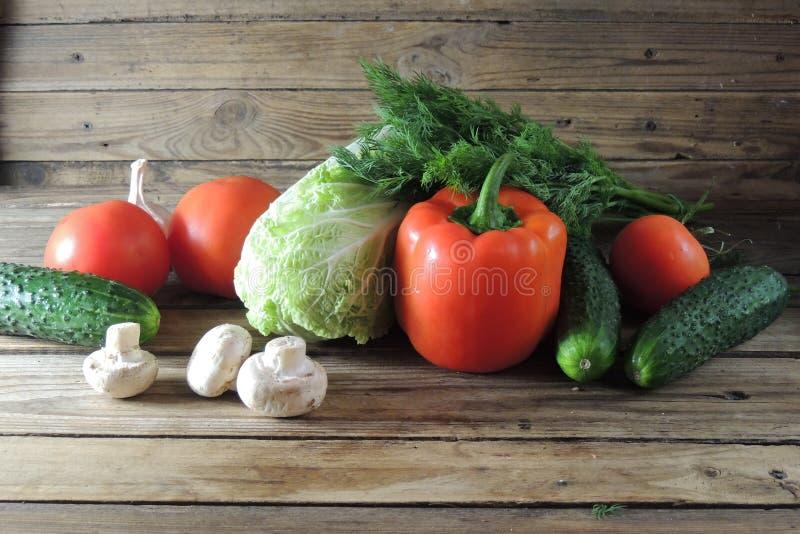 Tomaten, Gurken, Kohl, Pfeffer und Pilze stockfotos