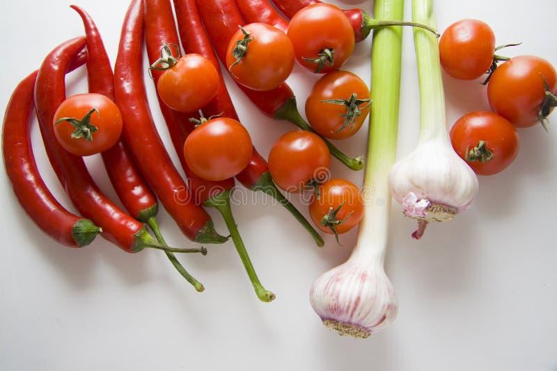 Tomaten, Knoblauch und Pfeffer lizenzfreie stockfotografie