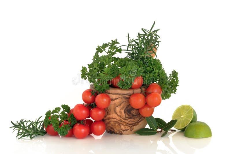 Tomaten, Kruiden en Kalk royalty-vrije stock afbeeldingen