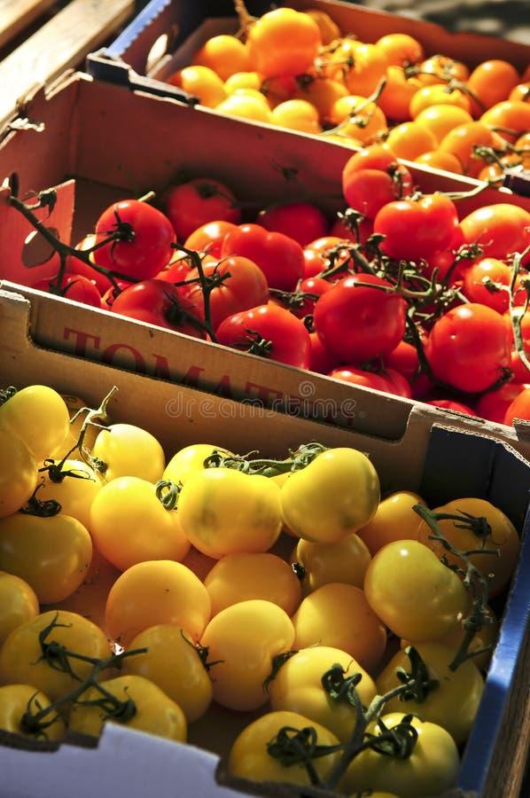 Tomaten op de markt stock foto