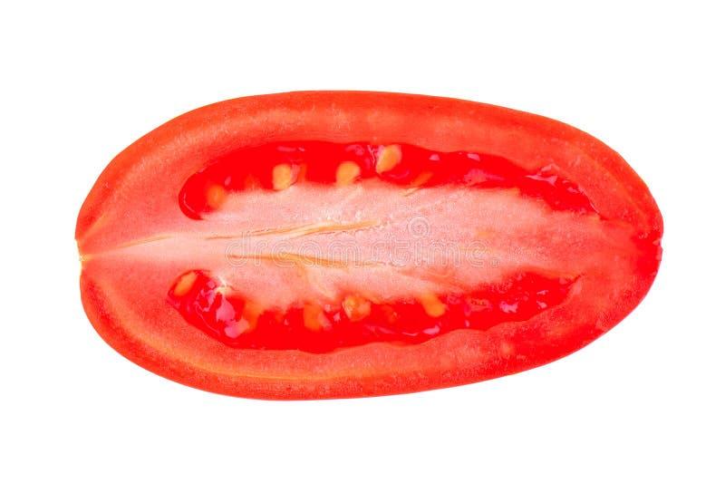 Tomaten plantaardige plak op witte achtergrond stock afbeeldingen