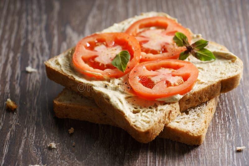 Tomaten-Sandwich stockfotografie