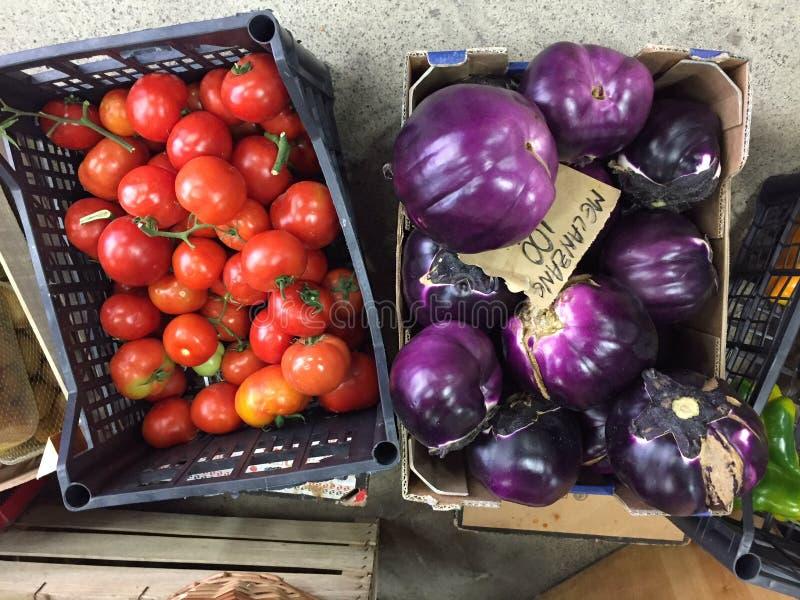 Tomaten und melanzanes Gemüse lizenzfreie stockbilder