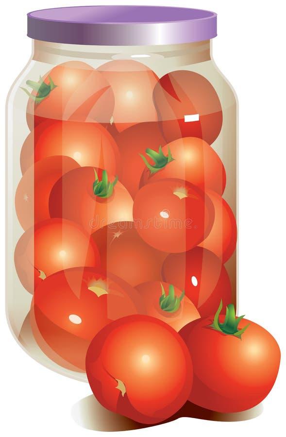Tomatenkomkommers in een kruik stock illustratie
