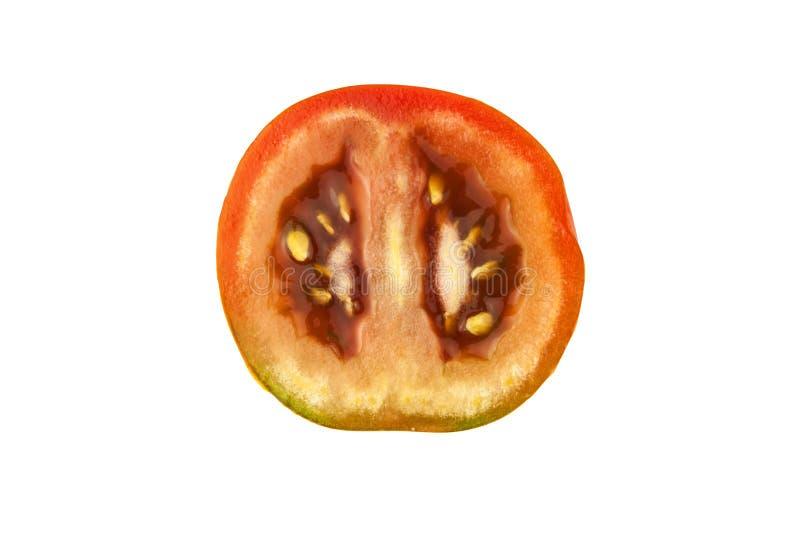 Tomatenplak op witte achtergrond, hoogste mening wordt geïsoleerd die Verse eigengemaakte groenten Groeiende tomaten Voorbereidin stock foto's