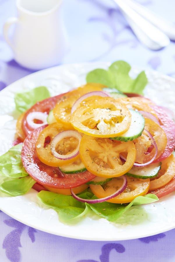 Tomatensalade met ui en komkommer stock foto's