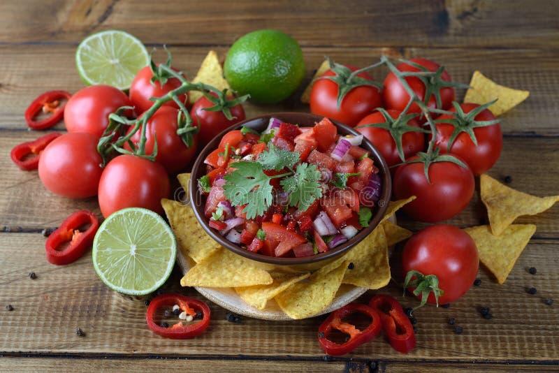 Tomatensalsa met graannachos stock foto