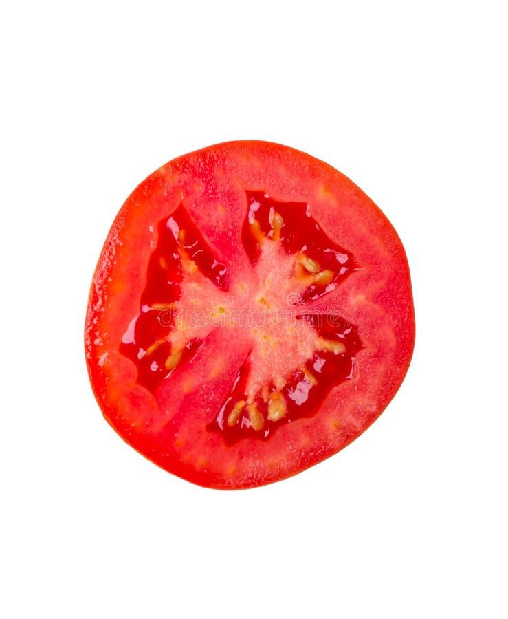 Tomatenscheibe lokalisiert auf Weiß stockfoto