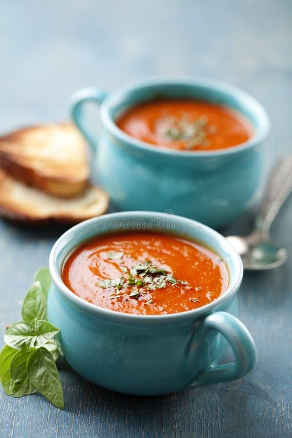 Tomatensoep in een grote kop stock foto