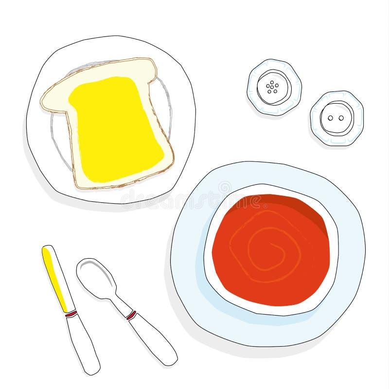 Tomatensoep en brood royalty-vrije illustratie