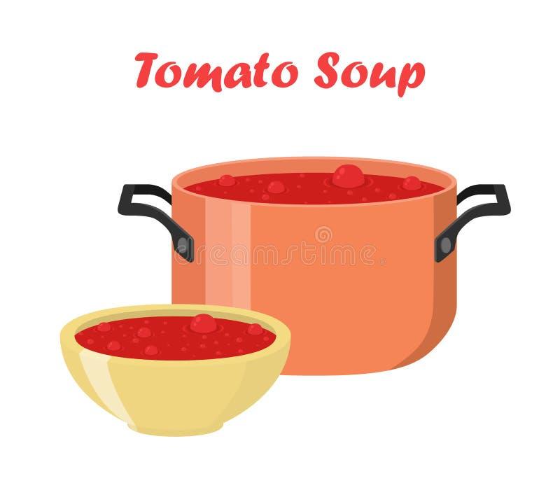 Tomatensuppe in der Schüssel, Teller Warme Mahlzeit mit Gemüse, Fleisch stock abbildung