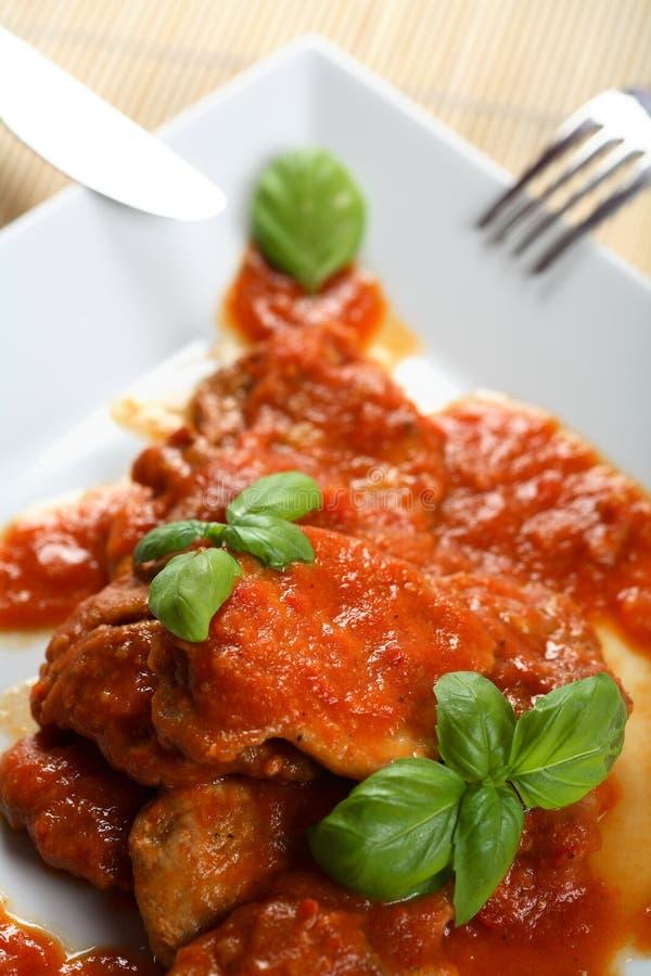 tomater för dressingkebabpork arkivfoton